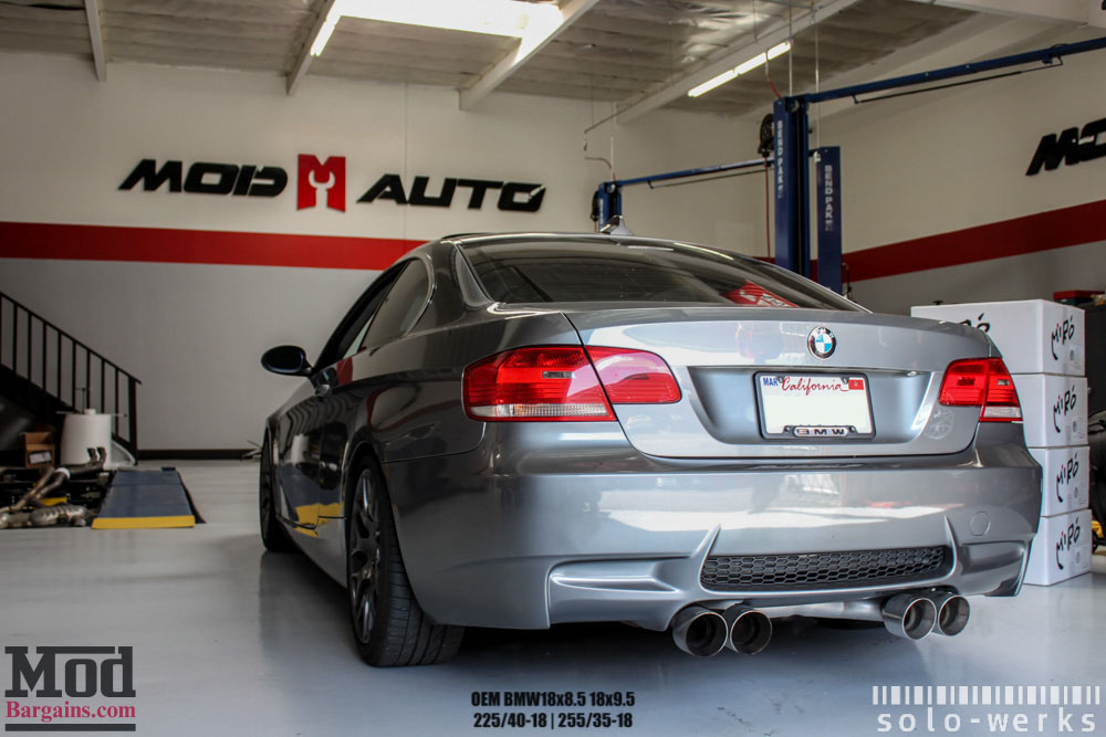 Dark Grey BMW E92 328i Solo Werks coilovers M3 bumper