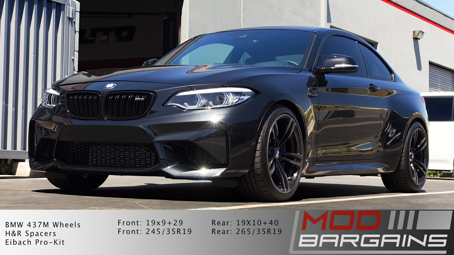 BMW M2 on lowering springs and spacers front view, lower m2